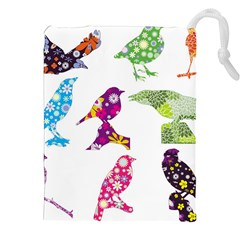 Birds Colorful Floral Funky Drawstring Pouches (xxl)
