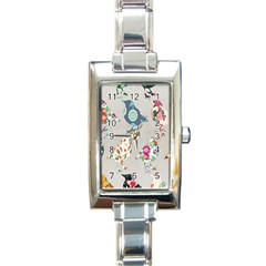 Birds Floral Pattern Wallpaper Rectangle Italian Charm Watch