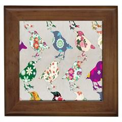 Birds Floral Pattern Wallpaper Framed Tiles