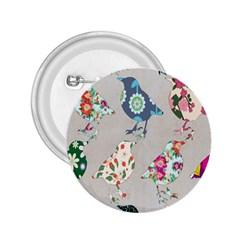 Birds Floral Pattern Wallpaper 2.25  Buttons