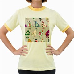Birds Floral Pattern Wallpaper Women s Fitted Ringer T Shirts