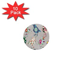 Birds Floral Pattern Wallpaper 1  Mini Buttons (10 Pack)