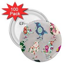 Birds Floral Pattern Wallpaper 2.25  Buttons (100 pack)