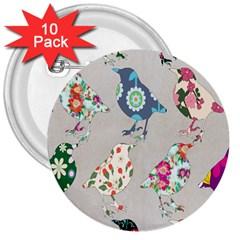Birds Floral Pattern Wallpaper 3  Buttons (10 Pack)