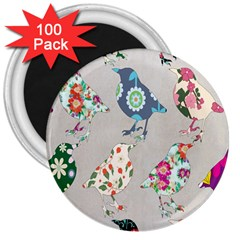Birds Floral Pattern Wallpaper 3  Magnets (100 Pack)