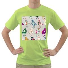 Birds Floral Pattern Wallpaper Green T-Shirt