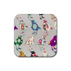 Birds Floral Pattern Wallpaper Rubber Square Coaster (4 Pack)