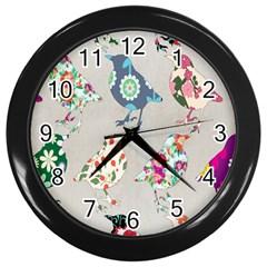 Birds Floral Pattern Wallpaper Wall Clocks (black)