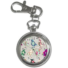 Birds Floral Pattern Wallpaper Key Chain Watches