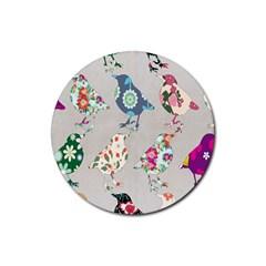 Birds Floral Pattern Wallpaper Rubber Coaster (Round)