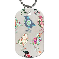 Birds Floral Pattern Wallpaper Dog Tag (two Sides)