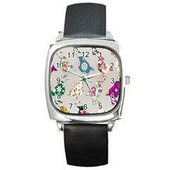 Birds Floral Pattern Wallpaper Square Metal Watch