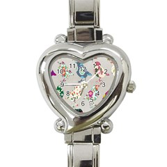 Birds Floral Pattern Wallpaper Heart Italian Charm Watch