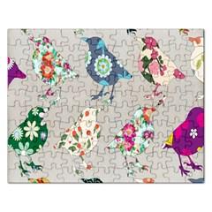 Birds Floral Pattern Wallpaper Rectangular Jigsaw Puzzl