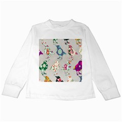 Birds Floral Pattern Wallpaper Kids Long Sleeve T Shirts