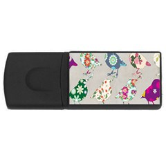 Birds Floral Pattern Wallpaper Usb Flash Drive Rectangular (4 Gb)