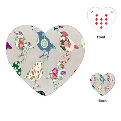 Birds Floral Pattern Wallpaper Playing Cards (heart)