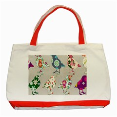 Birds Floral Pattern Wallpaper Classic Tote Bag (red)