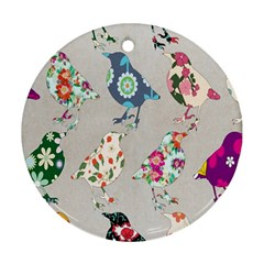 Birds Floral Pattern Wallpaper Round Ornament (Two Sides)