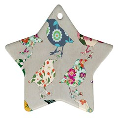 Birds Floral Pattern Wallpaper Star Ornament (two Sides)