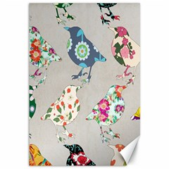 Birds Floral Pattern Wallpaper Canvas 12  X 18