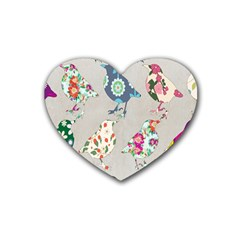Birds Floral Pattern Wallpaper Rubber Coaster (heart)