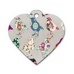 Birds Floral Pattern Wallpaper Dog Tag Heart (two Sides)