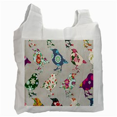 Birds Floral Pattern Wallpaper Recycle Bag (one Side)