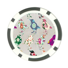 Birds Floral Pattern Wallpaper Poker Chip Card Guard (10 Pack)