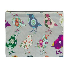 Birds Floral Pattern Wallpaper Cosmetic Bag (xl)