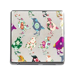 Birds Floral Pattern Wallpaper Memory Card Reader (Square)
