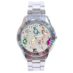 Birds Floral Pattern Wallpaper Stainless Steel Analogue Watch