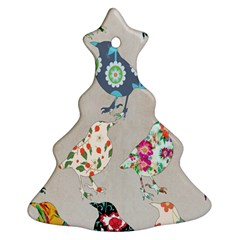 Birds Floral Pattern Wallpaper Christmas Tree Ornament (two Sides)