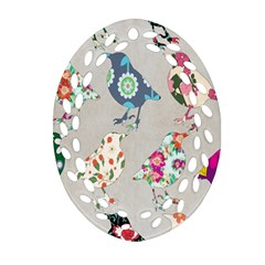 Birds Floral Pattern Wallpaper Oval Filigree Ornament (two Sides)