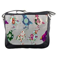 Birds Floral Pattern Wallpaper Messenger Bags