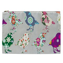 Birds Floral Pattern Wallpaper Cosmetic Bag (xxl)