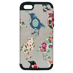 Birds Floral Pattern Wallpaper Apple Iphone 5 Hardshell Case (pc+silicone)