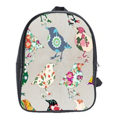 Birds Floral Pattern Wallpaper School Bags (xl)
