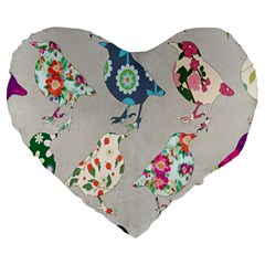 Birds Floral Pattern Wallpaper Large 19  Premium Heart Shape Cushions
