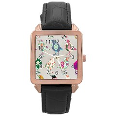 Birds Floral Pattern Wallpaper Rose Gold Leather Watch