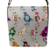 Birds Floral Pattern Wallpaper Flap Messenger Bag (l)