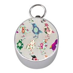 Birds Floral Pattern Wallpaper Mini Silver Compasses