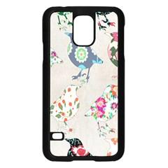 Birds Floral Pattern Wallpaper Samsung Galaxy S5 Case (black)