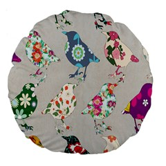 Birds Floral Pattern Wallpaper Large 18  Premium Flano Round Cushions