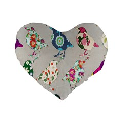 Birds Floral Pattern Wallpaper Standard 16  Premium Flano Heart Shape Cushions