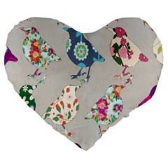 Birds Floral Pattern Wallpaper Large 19  Premium Flano Heart Shape Cushions