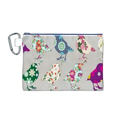 Birds Floral Pattern Wallpaper Canvas Cosmetic Bag (m)