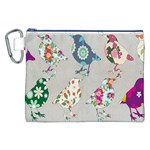 Birds Floral Pattern Wallpaper Canvas Cosmetic Bag (XXL) Front