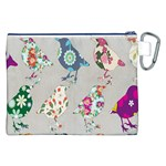 Birds Floral Pattern Wallpaper Canvas Cosmetic Bag (XXL) Back