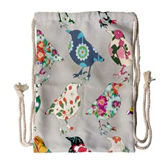 Birds Floral Pattern Wallpaper Drawstring Bag (Large)